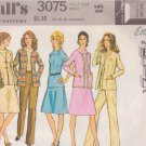 McCALL'S 1971 PATTERN 3075 SIZE 16 1/2 MISSES' BLOUSE SKIRT JACKET PANTS