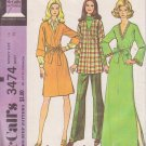 McCALL'S 3474 DATED 1972 MISSES' DRESS OR TUNIC