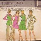 McCALL'S 3493 DATED 1973 SIZE 12 MISSES' VEST SHIRT SKIRT PANTS