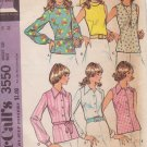 McCALL'S PATTERN 3550 DATED 1973 SIZE 14 MISSES SET OF BLOUSES