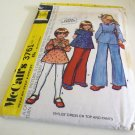 McCALL'S PATTERN 3744 DATED 1973 SIZE 6 GIRL'S DRESS, JUMPER, PANTS