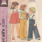 McCALL'S PATTERN 4160 DATED 1974 SIZE 5 GIRL'S OVERALLS OR JUMPER