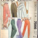 McCALL'S PATTERN 7566 DATED 1981 SIZE 14 MISSES PANTS IN 6 VARIATIONS