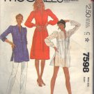 McCALL'S PATTERN 7598 SIZE 12 MISSES DRESS OR TUNIC
