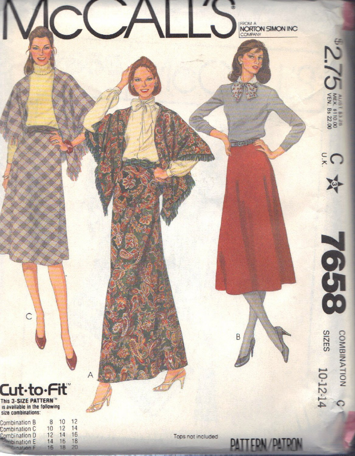 McCALL'S PATTERN 7658 DATED 1981 SIZE 10/12/14 MISSES' SKIRT & SHAWL UNCUT