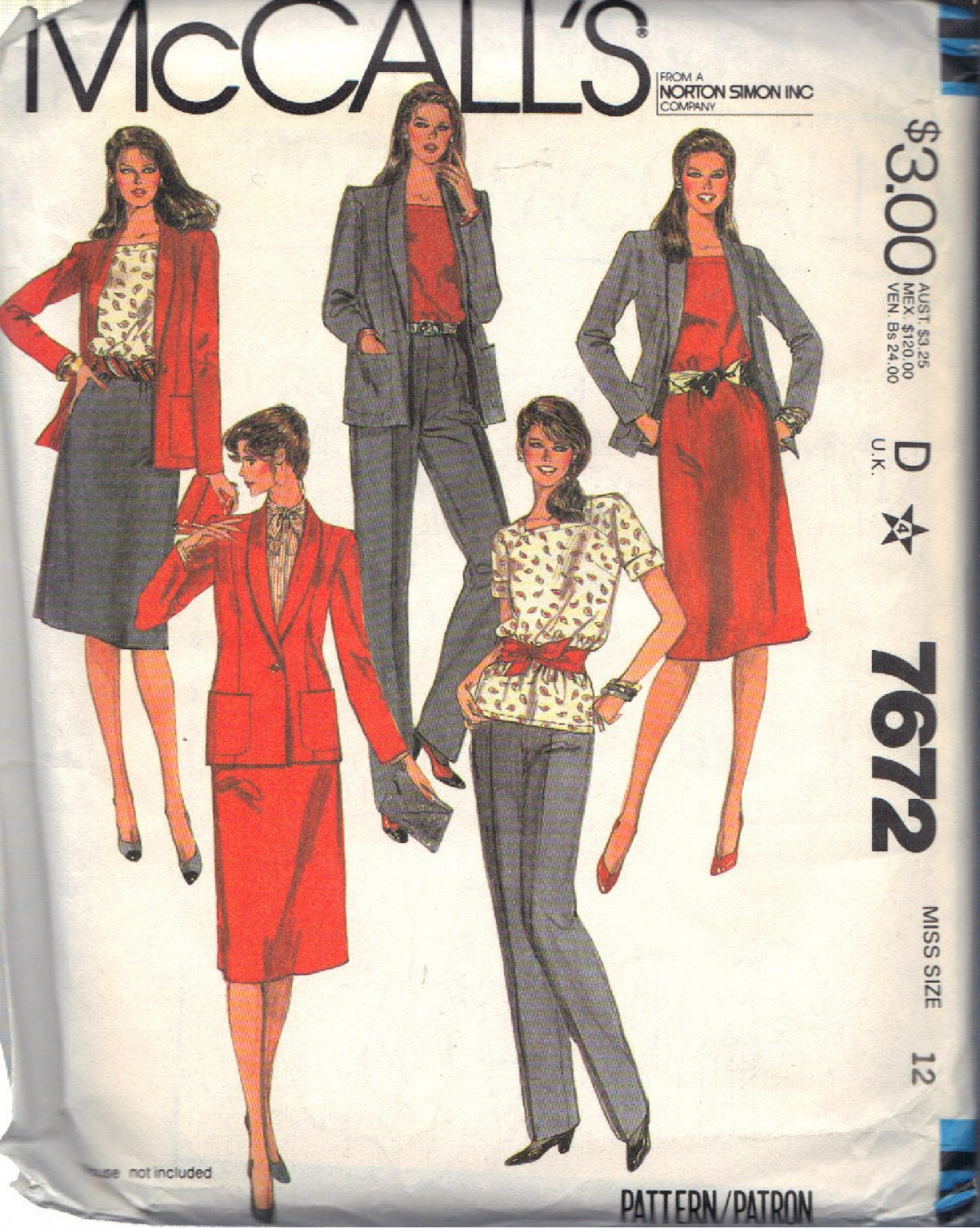 McCALL'S PATTERN 7672 DATED 1981 SIZE 12 MISSES' JACKET TOP SKIRT PANTS UNCUT