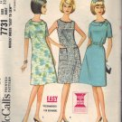 McCALL'S PATTERN 7731 DATED 1965 SIZE 12 MISSES' DRESS IN 3 VARIATIONS