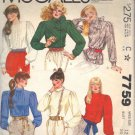 McCALL'S PATTERN 7759 DATED 1981 SIZE 12 MISSES' BLOUSE IN 4 VARIATIONS