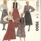 McCall's Pattern 7800 dated 1981 size 14 Misses' Vest Blouse Skirt UNCUT