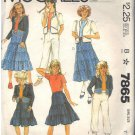 McCALL'S PATTERN 7865 DATED 1982 SIZE 7 GIRL'S JACKET SKIRT & PANTS