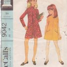 McCALL'S PATTERN 9042 DATED 1967 SIZE 10 GIRLS' PANTDRESS OR DRESS