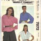 McCall's Pattern 7872 dated 1982 size Medium 14/16 Misses' Blouse UNCUT