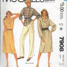 McCALL'S VINTAGE 1982 PATTERN 7908 SIZE 14 MISSES'  DRESS OR TOP