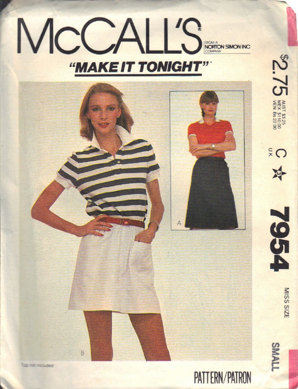 McCall's Pattern 7954 dated 1982 size Small 10/12 Misses� Skirt UNCUT
