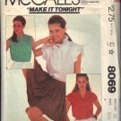 McCall's Pattern 8069 dated 1995 size 10 Misses' Blouses in 3 Variations