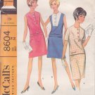 McCall's Pattern 8604 dated 1966 size 14 Misses' 2-Piece Dress 2 Versions UNCUT