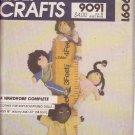 "McCALL'S VINTAGE PATTERN 9091 CLOTHES WARDROBE SOFT SCULPTURED DOLLS 18"" & 23"""