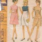 McCALL'S VINTAGE 1968 PATTERN 9320 SIZE 14 MISSES' DRESS 3 VERSIONS