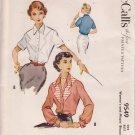 McCALL'S 1953 PATTERN 9549 SIZE 12 MISSES' BLOUSE 3 VERSIONS UNCUT