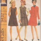 McCALL'S 1968 PATTERN 9432 SIZE 14 MISSES' JUMPER DRESS & JACKET 2 VERSIONS