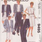 McCALL'S 1985 PATTERN 9485 SIZE 8 MISSES' JACKET TOP SKIRT PANTS SHORTS UNCUT