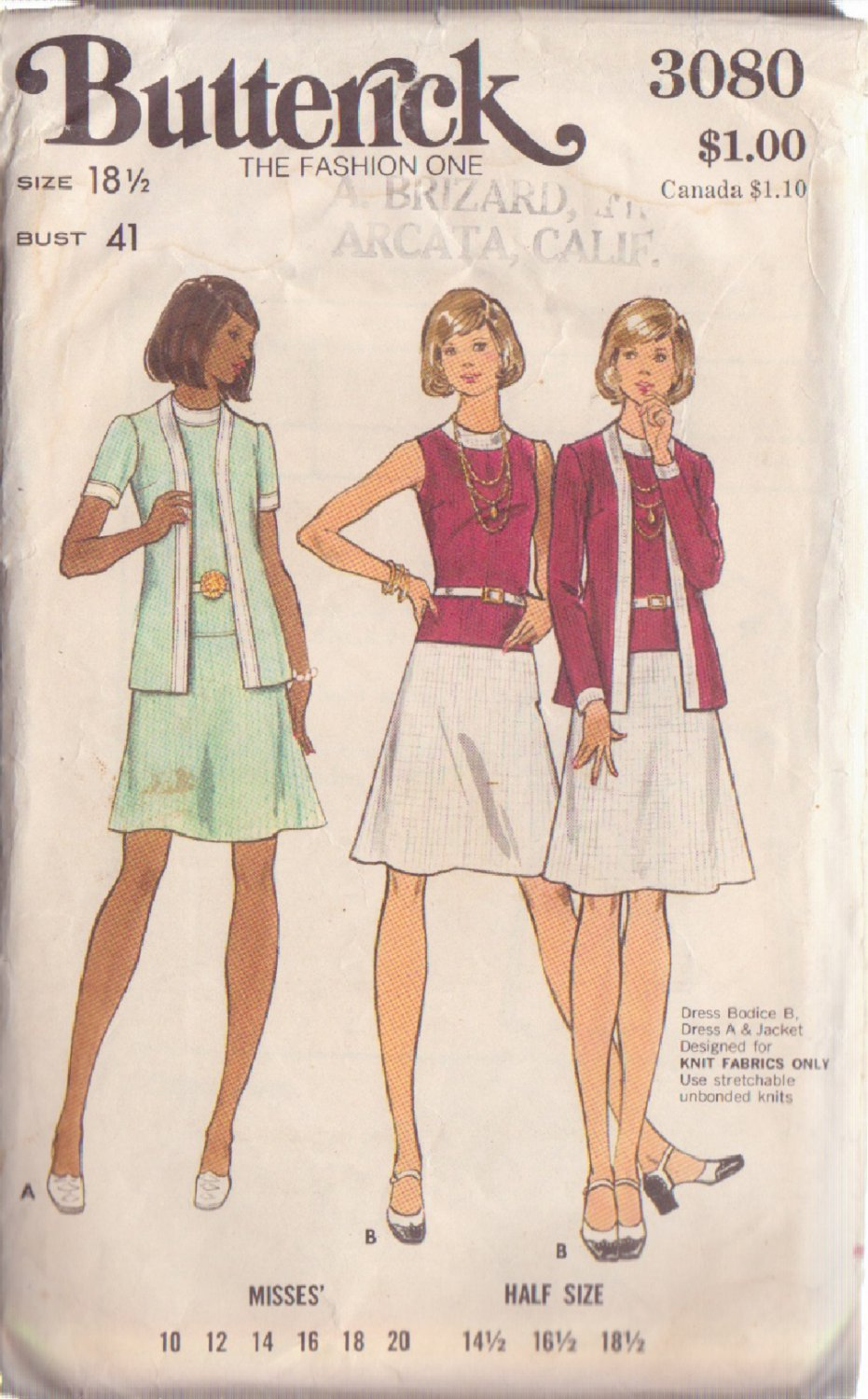 BUTTERICK 3080 PATTERN SIZE 18 1/2 MISSES' DRESS AND JACKET