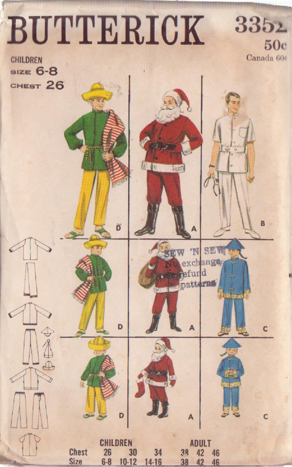 BUTTERICK PTRN 3352 SZ 6/8 CHILD'S COSTUMES SANTA,DOCTOR, CHINAMAN, MEXICAN