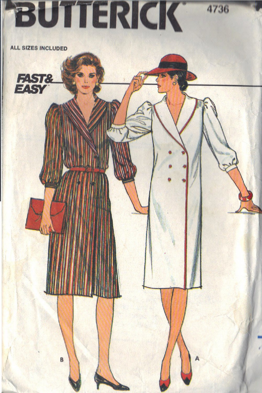 BUTTERICK PATTERN 4736 SIZES 8/10/12 MISSES' DRESS in 2 VARIATIONS