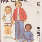 McCALL'S PATTERN 6407 SZ 3  TODDLER'S T-SHIRT, PANTS, SHORTS, UNLINED JACKET