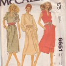 McCALL'S PATTERN 6651 SIZE 42  MISSES' DRESS 3 VARIATIONS