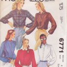 McCALL'S 6771 PATTERN SIZE 8 MISSES' BLOUSES IN 5 VARIATIONS