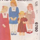 McCALL'S PATTERN 6780 GIRLS' SIZE 4  DRESS IN 4 VARIATIONS
