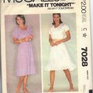 McCALL'S 7028 PATTERN 1980 SZ SM 10-12  MISSES' PEASANT STYLE DRESS