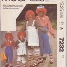McCall's Costume Pattern #7232 SIZE ADULT MD for Raggedy Ann & Raggedy Andy
