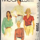 McCALL'S 7259 PATTERN DATED 1980 SIZE 14  MISSES' BLOUSES IN 4 VARAITIONS