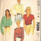 McCALL'S 7259 PATTERN DATED 1980 SIZE 10 MISSES' BLOUSES IN 4 VARIATIONS