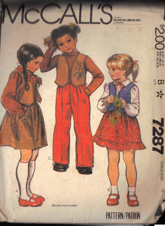McCALL'S 7287 SIZE 3  CHILDREN'S VEST, SKIRT, PANTS AND TRANSFER PATTERN
