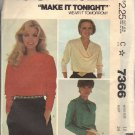 McCALL'S PATTERN 7366 SIZE 12 MISSES' BLOUSES IN 3 VARIATIONS UNCUT