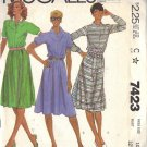 McCALL'S PATTERN 7423 DATED 1981 SIZE 10 MISSES' DRESS 2 VERSIONS UNCUT