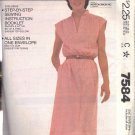 McCALL'S PATTERN 7584 SIZES PETITE 6-8, SMALL 10-12 MISSES' PULLOVER DRESS