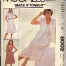 McCALL'S PATTERN 8002 SIZE 14 MISSES' BLOUSE CAMISOLE & SKIRT