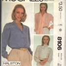 McCALL'S PATTERN 8106 DATED 1982 SIZE 10  MISSES' BLOUSES IN THREE VERSIONS