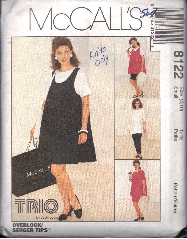 McCALL'S PATTERN 8122 SIZE 8/10  MISSES' MATERNITY DRESS,TOP,PULLON SKIRT,PANTS