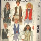 McCALL'S PATTERN 8196 DATED 1982 SIZE 12 MISSES' VEST IN SIX VERSIONS UNCUT