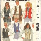 McCALL'S PATTERN 8196 DATED 1982 SIZE 16 MISSES' VEST IN SIX VERSIONS UNCUT