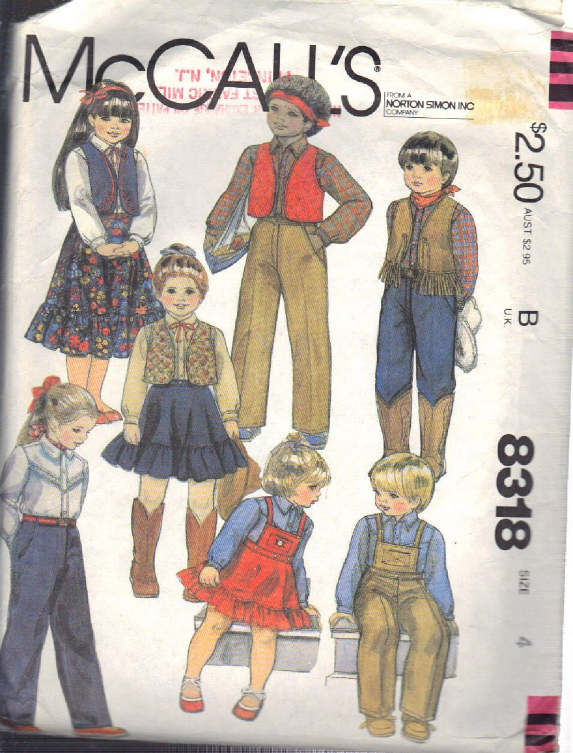 McCALL'S PATTERN 8318 DATED 1982 SIZE 4  CHILD'S VEST, SKIRT, PANTS AND SHIRT