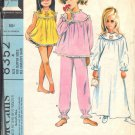 McCALL'S PATTERN 8352, DATED 1966, SZ 4 GIRLS' NIGHTGOWN PAJAMAS SHORTIES SLIPPERS