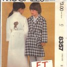 McCALL'S PATTERN 8357 DATED 1982 SIZE 2  CHILD'S ROBE & E.T. COLOR IRON ON