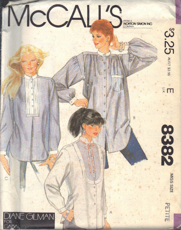 McCALL'S PATTERN 8382 DATED 1983 SZ PETITE 6-8 MISSES' SHIRTS, 3 VERSIONS UNCUT