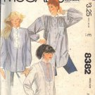 McCALL'S PATTERN 8382 DATED 1983 SZ PETITE 6-8 MISSES' SHIRTS, 3 VERSIONS UNCUT